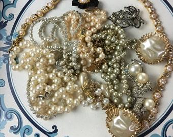 Repurpose salvage Flower Pearl Beaded Cluster Gold tone Rhinestone earring lot destash harvest