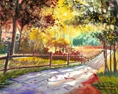 Watercolor  Painting PRINT country road Fall trees Landscape colors  GICLEE