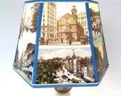 Boston Lamp Shade, Lampshade Boston Vintage Postcards 7x10x7 high, Clip top, Holiday Gift for Desk Lamp - easy fit
