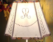M Lamp Shade, Linen Lampshade Vintage Monogram and Embroidery, 6x12x8.5 high - Spectacular Fabric Lamp Shade - Treat to Self or Mom!