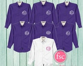 7 Bridesmaid oxford shirts, monogrammed oxford shirts, getting ready shirts, bridal party gifts , wedding day shirts ,