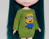 Neo BLYTHE - MINION Sweater Tunic -- Sparkley Lime Green