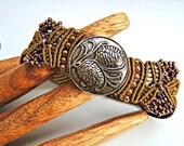 Pine Cones Micro Macrame Bracelet  - Bronze Button - Beaded Macrame Bracelet - Nature - Tree - Bough - Pine Needles