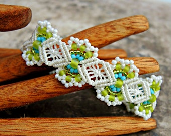 Caribbean Colors Macrame Bracelet II - Micro Macrame Bracelet - Blue, Green and White - Macrame Jewelry