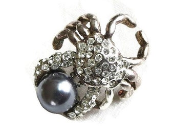 Vintage Clear ICE Pave Rhinestone and Faux Tahitian Pearl Crab Brooch or Pin signed TCA