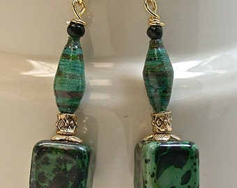 Vintage Japanese Lucite Bead Green Black Dangle Drop Earrings, Vintage Japanese Green Black Handmade Paper Beads, Gold Ear Wires