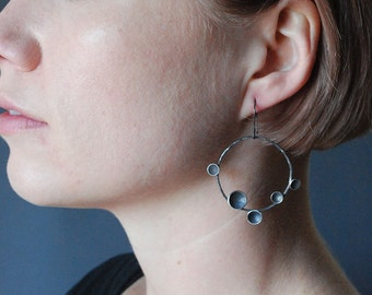 Succulent Hoop in Oxidized Silver