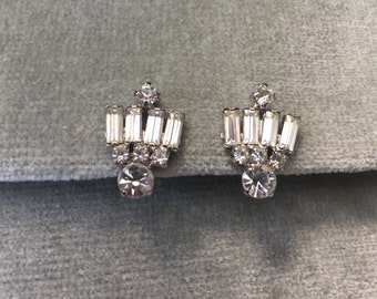 Rhinestone Earrings / 1950s / Bridal / Wedding / Special Occasion