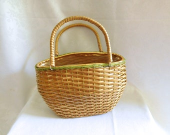 Woven Natural Rattan Wicker Handbag Purse Vintage 60s
