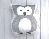 Owl Throw Pillow, Animal Pillow, Woodland Crib Bedding, Soft Baby Toy, Forest Animal Nursery, Owl Nursery Decor, Kids Bedding Girls
