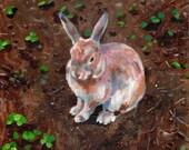 Rabbit's garden - Original acrylic painting of  a small Rabbit / Home Decor / wall art /animals art/ canvas wall art