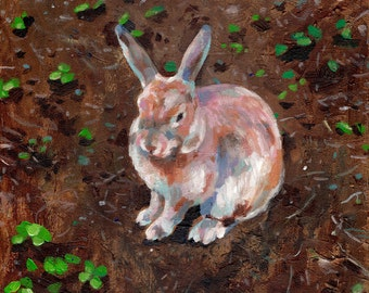 Rabbit's garden - Original acrylic painting of  a small Rabbit / Home Decor / wall art /animals art/ canvas wall art