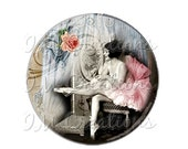 """50% OFF - Pocket Mirror, Magnet or Pinback Button - Wedding Favors, Party themes - 2.25""""- Vintage 1920s ballet MR100"""