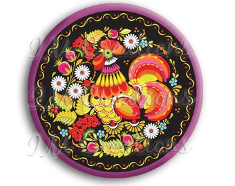 "Russian Rooster Pocket Mirror, Magnet or Pinback Button - Wedding Favors, Party themes - 2.25"" MR508"
