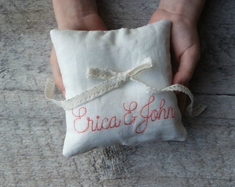 Embroidered Linen Ring Bearer Pillow, Full Names, Choose Your Linen Color, Two Sizes