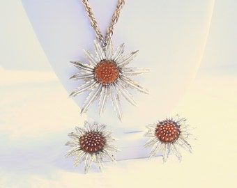 Vintage Starburst Pendant Brooch Necklace Earrings Sarah Coventry Pin Amber Sunflower