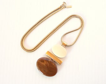 Modernist Brown Cream Pendant Necklace Vintage Chunky Ovals Round Long Goldtone Chain Necklace