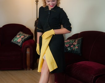 Vintage 1940s Dress - Fabulous Black Rayon Crepe Late 1940s Day Dress with Contrasting Chartreuse and Asymmetric Button Detailing