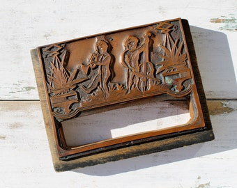 Antique Musical Cherub Printer Block, Copper Letterpress Printer's Cut, Jazz Age Putti, Valentine's Day Cherubs