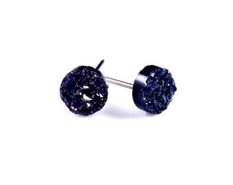 "Tiny 1/4"" 6mm Round Black Druzy Drusy Post Stud Earrings with Nickel Free Titanium Posts"