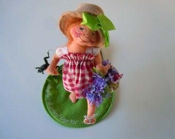 "Vintage 1996 Felt Doll Sculpture | 7"" Little Mae Annalee Mobilitee Poseable Doll | A Soft Sculpture Art Form Stocking"