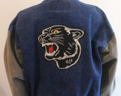 Vintage Varsity Jacket with Panther Patches