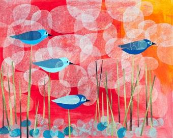 Blue Bird Sunrise, a limited edition 12x16 or 22x30 print by Jessica Moon Bernstein