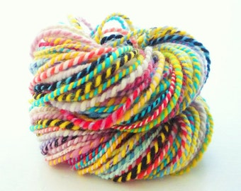 Hand Spun Wool Yarn, Hand Spun Yarn, Storybook Two Ply Merino Wool Yarn, Multi Color Yarn, Hand Dyed Yarn, Ukraina Yarn, 78 yards 1.7 ozs