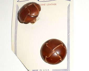 Vintage Leather Buttons - Round Buttons - Coat Buttons - Brown Leather Buttons - Original Card - Sewing Supply Buttons - Men's Coat Buttons