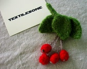 Red Cherries Pin Retro Inspired Brooch Hand Knit and Hand Felted Wool Accessory an Original Design by Textilesone Ready to Ship