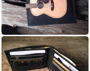 New inside 8 card holders !!!!Free!! initials stamp Hand Stitch Men Wallet Acoustic guitar Vintage Colored light Wood