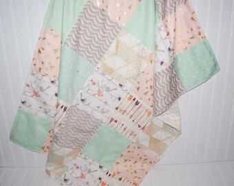 patchwork minky baby blanket - baby blanket- arrow baby blanket- bird baby blanket- mint baby blanket-triangle baby blanket