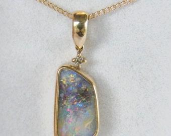 Opal Pendant, Pretty Australian Boulder Opal Pendant in Gold - Item 2705151 -Free Shipping