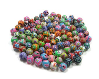12mm Round Polymer Clay Beads Assorted Variety 100 pieces (B)
