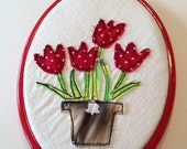 Winter Clearance Embroidery hoop art,  red tulips hoop art embroidery
