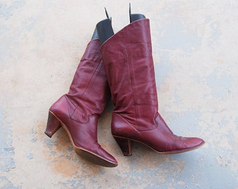 vintage 70s Boots - 1970s Oxblood Leather Slouch Boots - Maroon Red Leather Ankle Boots Sz 8.5 39
