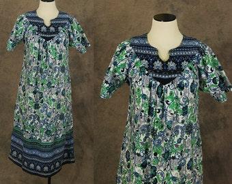 vintage 70s India Cotton Tent Dress - Blue and Green Floral Tent Dress - 1970s Gauze Boho Ethnic Hippie Festival Dress Sz S M L