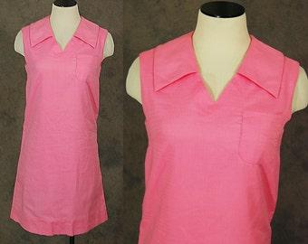 vintage 60s Dress - 1960s Mod Pink Shift Dress Mini Dress Sz S