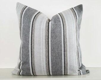 Grey Cream Pillows, Grey Striped Pillow Covers, Granite Neutral Pillows, Cream Grey Taupe Pillow, Mens Contemporary Home Decor, 20x20