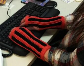 Black/Orange, Black/White Texting Gloves Wrist Warmers Fingerless Gloves