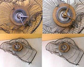 Smashed Fan Cover Wall Clock, Choice of Hand Color, Upcycled Industrial Decor, Junk Clock, Boyfriend Gift, Salvaged Metal Hanging Wall Clock