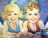 Jigsaw Picture Puzzle 1948 Cute Girl Boy on the Beach Vintage Frame-Tray Inlay USA Great Gift