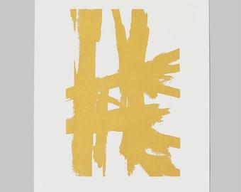 Medium Abstract Sketch #2 Print-Gold