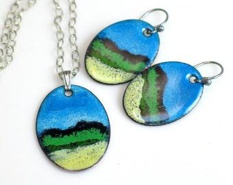 Blue Skies Pendants and Earring Series, Vitreous Art Enamels on Copper, Nature Pendant, Original Landscapes, WillOaks Studio OOAK