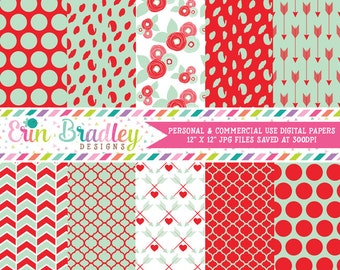 Mint and Red Digital Paper Pack with Flowers Polka Dots and Arrow Patterns Valentines Day Digital Papers