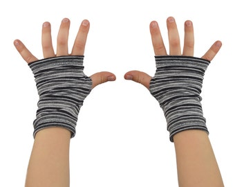 Toddler Arm Warmers in Grey Ombre Stripes - Fingerless Gloves