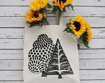 Tote Shopper Hand Printed Canvas Bag