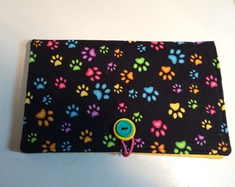 Bright Paw Prints on Black Coupon Wallet Case