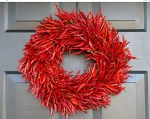 FALL WREATH SALE Organic Red Chili Pepper Wreath, Kitchen Centerpiece, Wall Decor, Housewarming Gift, Herb Wreath, Southwest Decor, 16 inch