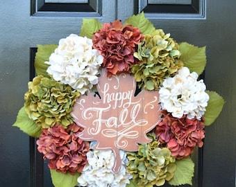 FALL WREATH SALE Happy Fall Hydrangea Wreath, Hydrangea Fall Wreaths, Fall Wreath, Fall Decor, Fall Decoration, Xtra large wreath